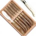Laguiole Pastetenmesser, 6 Stück in Box, L 23 cm, polierte Edelstahlbacken, elfenbeinfarbig