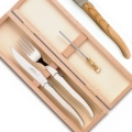 Laguiole cutlery, set of 3 in box, l 23/23/11 cm, olivewood
