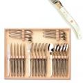 Laguiole Besteck Set 24-tlg. in Box, je 6 Messer, Gabeln, Löffel, 23 cm, 6 Teel. 16 cm, polierte Messingbacken, marmoriert hell