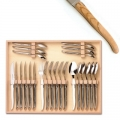 Laguiole Besteck Set 24-tlg. in Box, je 6 Messer, Gabeln, Löffel, 23 cm, 6 Teel. 16 cm, Olivenholz