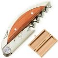 Laguiole Sommelier Haute Cuisine DesignerKorkenzieher in Eichenholzbox, konische Spirale, L 11 cm, Exotikholzgriff