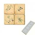 Aimants en marbre, coffret de 4, motif branches d'olivier, finition antique, L 5 x l 5 x h 1 cm
