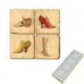 Aimants en marbre, coffret de 4, motif chaussures anciennes, finition antique, L 5 x l 5 x h 1 cm