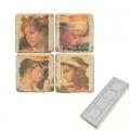 Aimants en marbre, coffret de 4, motif bustes classiques, finition antique, L 5 x l 5 x h 1 cm
