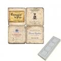 Memomagnete Set Französische Weine 5, Marmor, Antikfinish, 4 er Set in Box, Maße: L 5 x B 5 x H 1 cm