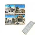 Memomagnete Set Antikes Rom, Marmor, Antikfinish, 4 er Set in Box, Maße: L 5 x B 5 x H 1 cm