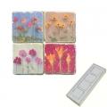 Memomagnete Set Blütenpotpourri, Marmor, Antikfinish, 4 er Set in Box, Maße: L 5 x B 5 x H 1 cm
