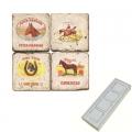 Marble Memo Magnets, set of 4, illustration theme Cigar Labels 2, antique finish, l 5 x w 5 x h 1 cm