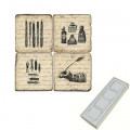 Memomagnete Set Kalligraphie, Marmor, Antikfinish, 4 er Set in Box, Maße: L 5 x B 5 x H 1 cm