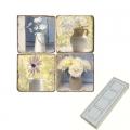 Memomagnete Set Blumenstilleben, Marmor, Antikfinish, 4 er Set in Box, Maße: L 5 x B 5 x H 1 cm
