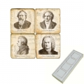 Memomagnete Set Komponisten, Marmor, Antikfinish, 4 er Set in Box, Maße: L 5 x B 5 x H 1 cm