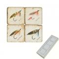 Marble Memo Magnets, set of 4, illustration theme Fishing Flies 1, antique finish, l 5 x w 5 x h 1 cm