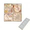 Marble Memo Magnets, set of 4, illustration theme Antique Maps, antique finish, l 5 x w 5 x h 1 cm
