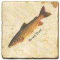 Marmorfliese, Motiv: Forellen D,  Antikfinish,  Aufhängeöse, Antirutschfüßchen, Maße: L 20 x B 20 x H 1 cm