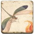 Marmorfliese, Motiv: Flügelinsekten 2 A,  Antikfinish,  Aufhängeöse, Antirutschf., Maße: L 20 x B 20 x H 1 cm