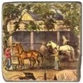 Carrelage en marbre, motif chevaux 1B, finition antique, illet pour l'accroche, pieds antidérapants, L 20 xl 20 x h 1 cm