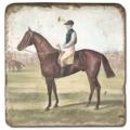 Carrelage en marbre, motif chevaux 2A, finition antique, illet pour l'accroche, pieds antidérapants, L 20 xl 20 x h 1 cm