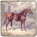 Carrelage en marbre, motif chevaux 2B, finition antique, illet pour l'accroche, pieds antidérapants, L 20 xl 20 x h 1 cm