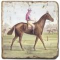 Carrelage en marbre, motif chevaux 2C, finition antique, illet pour l'accroche, pieds antidérapants, L 20 xl 20 x h 1 cm