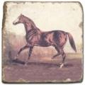 Carrelage en marbre, motif chevaux 2D, finition antique, illet pour l'accroche, pieds antidérapants, L 20 xl 20 x h 1 cm
