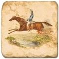 Marmorfliese, Motiv: Ross und Reiter A,  Antikfinish,  Aufhängeöse, Antirutschf., Maße: L 20 x B 20 x H 1 cm