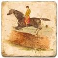 Carrelage en marbre, motif cheval et cavalier C, finition antique, illet pour l'accroche, pieds antidérapants, L 20 xl 20 x h 1 cm