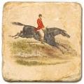 Carrelage en marbre, motif cheval et cavalier D, finition antique, illet pour l'accroche, pieds antidérapants, L 20 xl 20 x h 1 cm