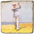 Marmorfliese, Motiv: Golf 5 A,  Antikfinish,  Aufhängeöse, Antirutschfüßchen, Maße: L 20 x B 20 x H 1 cm