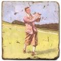 Marmorfliese, Motiv: Golf 5 B,  Antikfinish,  Aufhängeöse, Antirutschfüßchen, Maße: L 20 x B 20 x H 1 cm