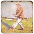 Marmorfliese, Motiv: Golf 5 C,  Antikfinish,  Aufhängeöse, Antirutschfüßchen, Maße: L 20 x B 20 x H 1 cm