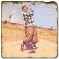 Marmorfliese, Motiv: Golf 5 D,  Antikfinish,  Aufhängeöse, Antirutschfüßchen, Maße: L 20 x B 20 x H 1 cm