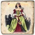 Marmorfliese, Motiv: Adel B,  Antikfinish,  Aufhängeöse, Antirutschfüßchen, Maße: L 20 x B 20 x H 1 cm