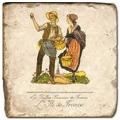 Carrelage en marbre, motif région de France Ile de France, finition antique, illet pour l'accroche, pieds antidérapants, L 20 xl 20 x h 1 cm