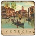 Marmorfliese, Motiv: Italienische Städte C,  Antikfinish,  Aufhängeöse, Antirutschf.., Maße: L 20 x B 20 x H 1 cm