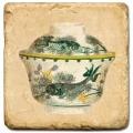 Marmorfliese, Motiv: Teetassen 1 C,  Antikfinish,  Aufhängeöse, Antirutschfüßchen., Maße: L 20 x B 20 x H 1 cm