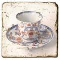 Marmorfliese, Motiv: Teetassen 2 A,  Antikfinish,  Aufhängeöse, Antirutschfüßchen., Maße: L 20 x B 20 x H 1 cm