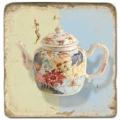 Marmorfliese, Motiv: Teekannen A,  Antikfinish,  Aufhängeöse, Antirutschfüßchen., Maße: L 20 x B 20 x H 1 cm