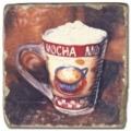 Marmorfliese, Motiv: Kaffeetassen 2 B,  Antikfinish,  Aufhängeöse, Antirutschfüßchen., Maße: L 20 x B 20 x H 1 cm