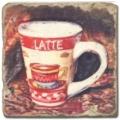 Marmorfliese, Motiv: Kaffeetassen 2 D,  Antikfinish,  Aufhängeöse, Antirutschfüßchen., Maße: L 20 x B 20 x H 1 cm