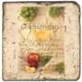 Marmorfliese, Motiv: Weingläser B,  Antikfinish,  Aufhängeöse, Antirutschfüßchen., Maße: L 20 x B 20 x H 1 cm
