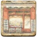 Marmorfliese, Motiv: Ladenfronten D,  Antikfinish,  Aufhängeöse, Antirutschfüßchen., Maße: L 20 x B 20 x H 1 cm