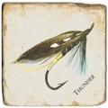 Marble Tile, Theme: Fishing Flies 1 C, antique finish, hanger, anti slip nubs, Dim.: l 20 x w 20 x h 1 cm