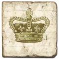 Marmorfliese, Motiv: Kronen C,  Antikfinish,  Aufhängeöse, Antirutschfüßchen., Maße: L 20 x B 20 x H 1 cm