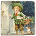 Marmorfliese, Motiv: Seasons Greetings C,  Antikfinish,  Aufhängeöse, Antirutschf., Maße: L 20 x B 20 x H 1 cm