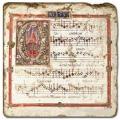Marmorfliese, Motiv: Notenblätter D,  Antikfinish,  Aufhängeöse, Antirutschfüßchen, Maße: L 20 x B 20 x H 1 cm
