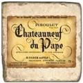 Marmorfliese, Motiv: Französische Weine 5 A,  Antikfinish,  Aufhängeöse, Antirutschf., Maße: L 20 x B 20 x H 1 cm