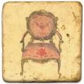 Marmorfliese, Motiv: Klassische Stühle D,  Antikfinish,  Aufhängeöse, Antirutschf.., Maße: L 20 x B 20 x H 1 cm