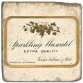 Marmorfliese, Motiv: Champagner A,  Antikfinish,  Aufhängeöse, Antirutschfüßchen, Maße: L 20 x B 20 x H 1 cm