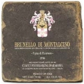 Marmorfliese, Motiv: Italienische Weine 2 B,  Antikfinish,  Aufhängeöse, Antirutschf., Maße: L 20 x B 20 x H 1 cm