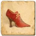 Marmorfliese, Motiv: Chaussures B,  Antikfinish,  Aufhängeöse, Antirutschfüßchen, Maße: L 20 x B 20 x H 1 cm